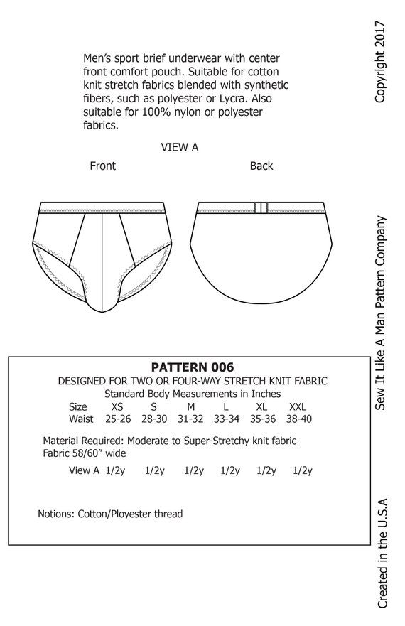 6c2dd7038de91 Mens Front Pouch Brief Underwear Sewing Pattern PDF | Products ...