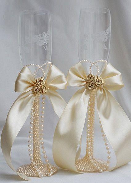 C mo decorar las copas de boda champagne glasses for Copas de champagne