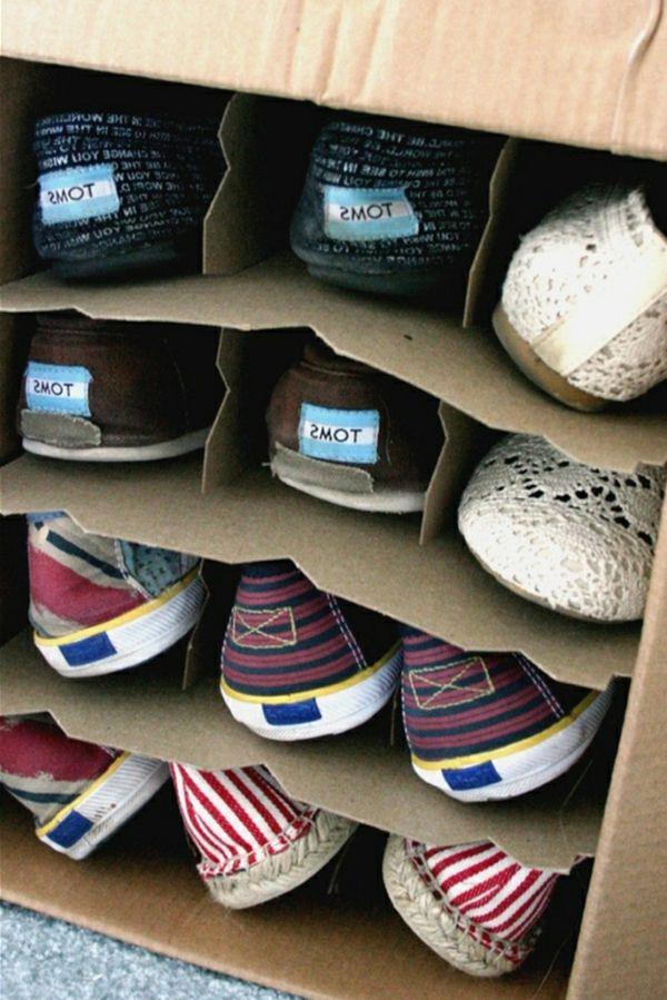 Schuh Aufbewahrung selbst gebaute regale für schuhe aus karton material gemacht