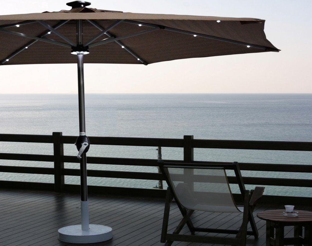 super cooler sonnenschirm mit solarbetriebener led beleuchtung terrassen balkone. Black Bedroom Furniture Sets. Home Design Ideas
