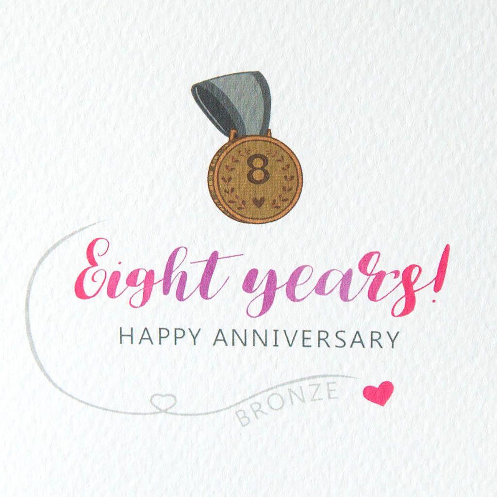 Eighth Wedding Anniversary Card Bronze Wedding