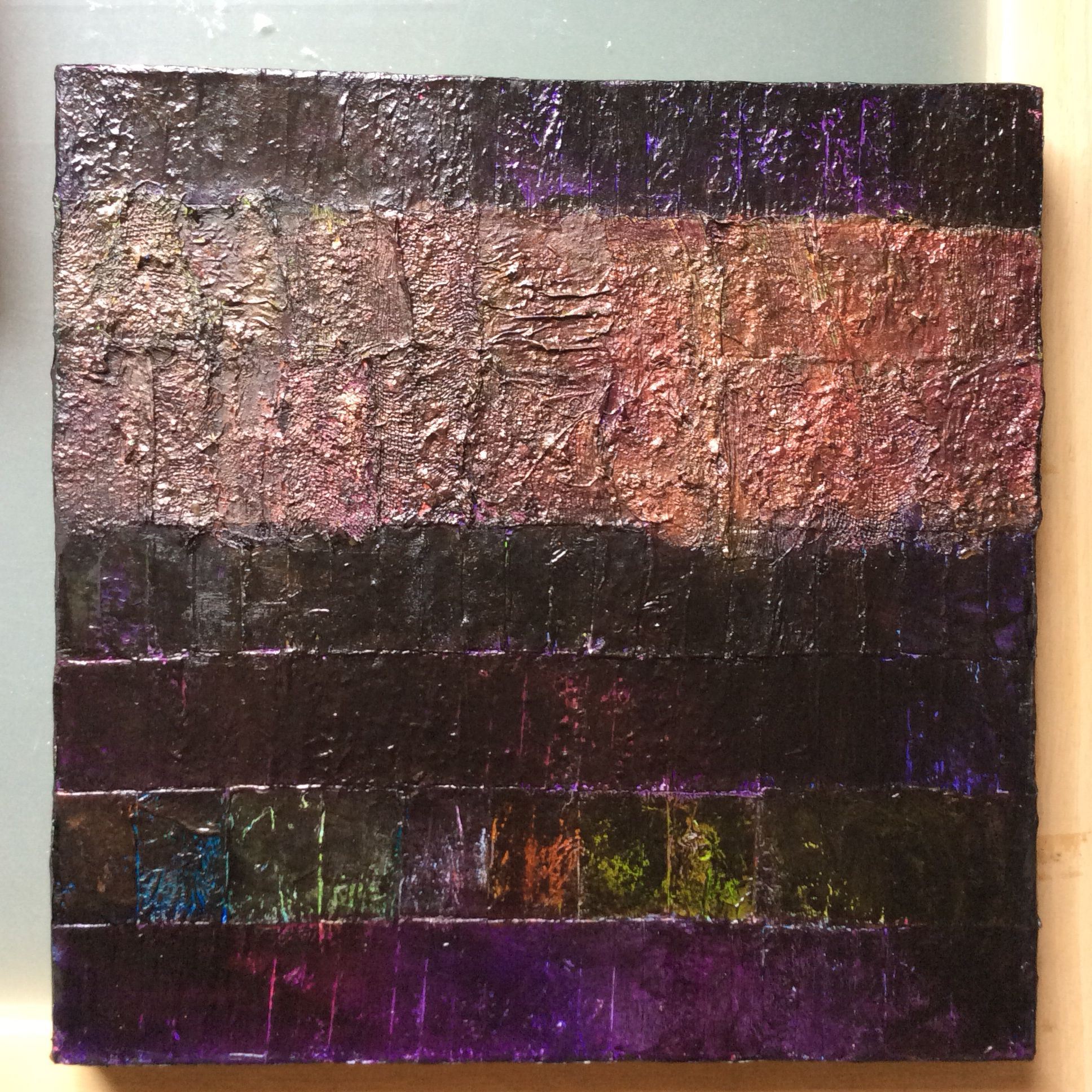 creating canvas art. Lynda Bleyberg Art  mixed media visual artist by the combination and contrast of textured upon canvas surface creating Abstract Paintings Night Strata a black bronze collage with fabric paper