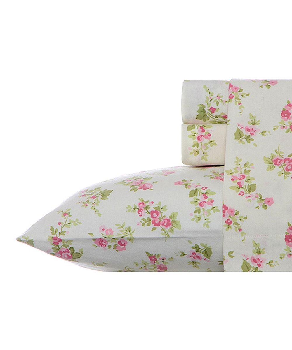 Look at this Pink Audrey Flannel Sheet Set on #zulily today!