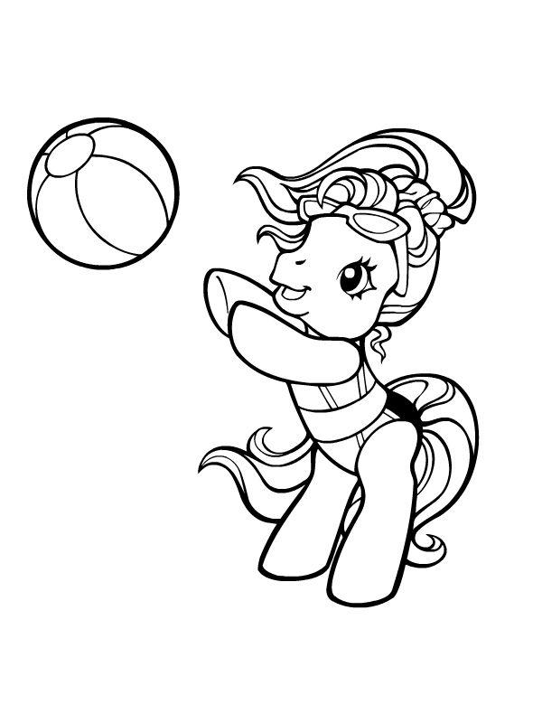 Petit poney jouant au ballon mes petites pouliches coloriage mon petit poney coloriage et - Coloriage petit poney ...