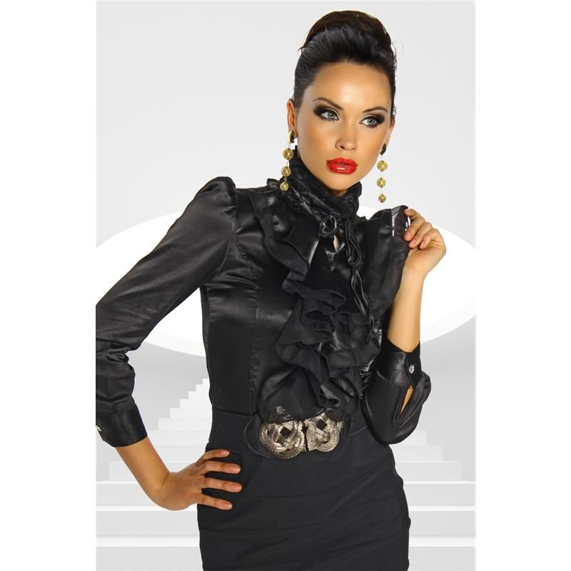 black satin blouseELEGANT LONG SLEEVE SATIN BLOUSE BLACK 29 ...