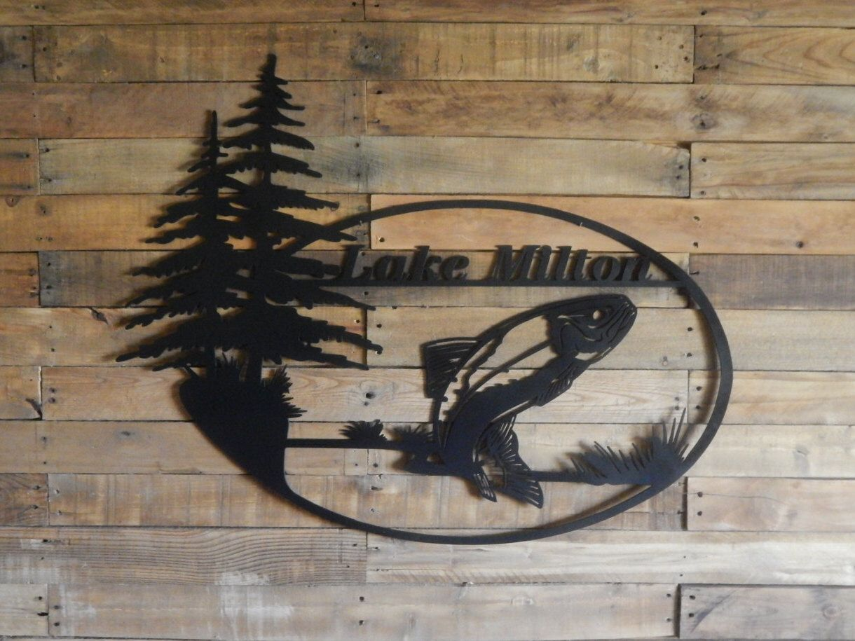 Metal Wall Art - Fishing - Metal Lake Sign - Metal Cabin Signs - Custom  House Sign - Outdoor - Jumping Trout House Sign