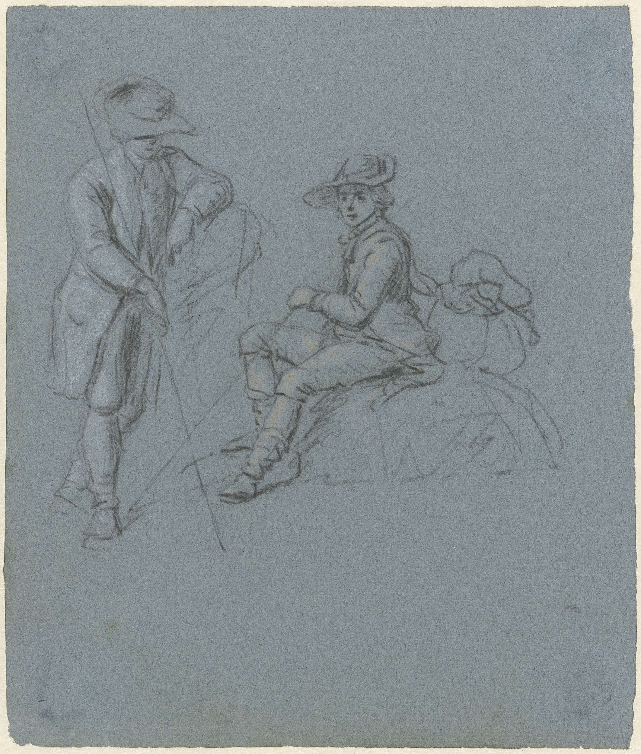 Jordanus Hoorn | Twee schetsen van een reiziger, staand en zittend, Jordanus Hoorn, 1763 - 1833 | Studieblad met twee schetsen van een reiziger, staand en zittend.