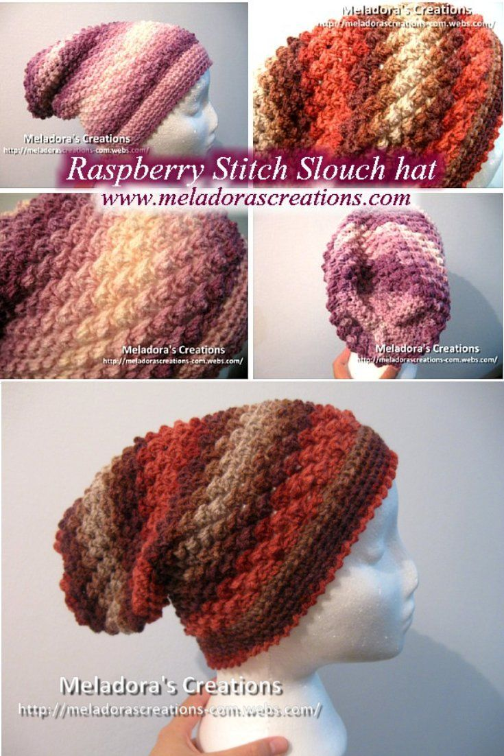 Raspberry Stitch Slouch Hat Free Crochet Pattern Meladoras