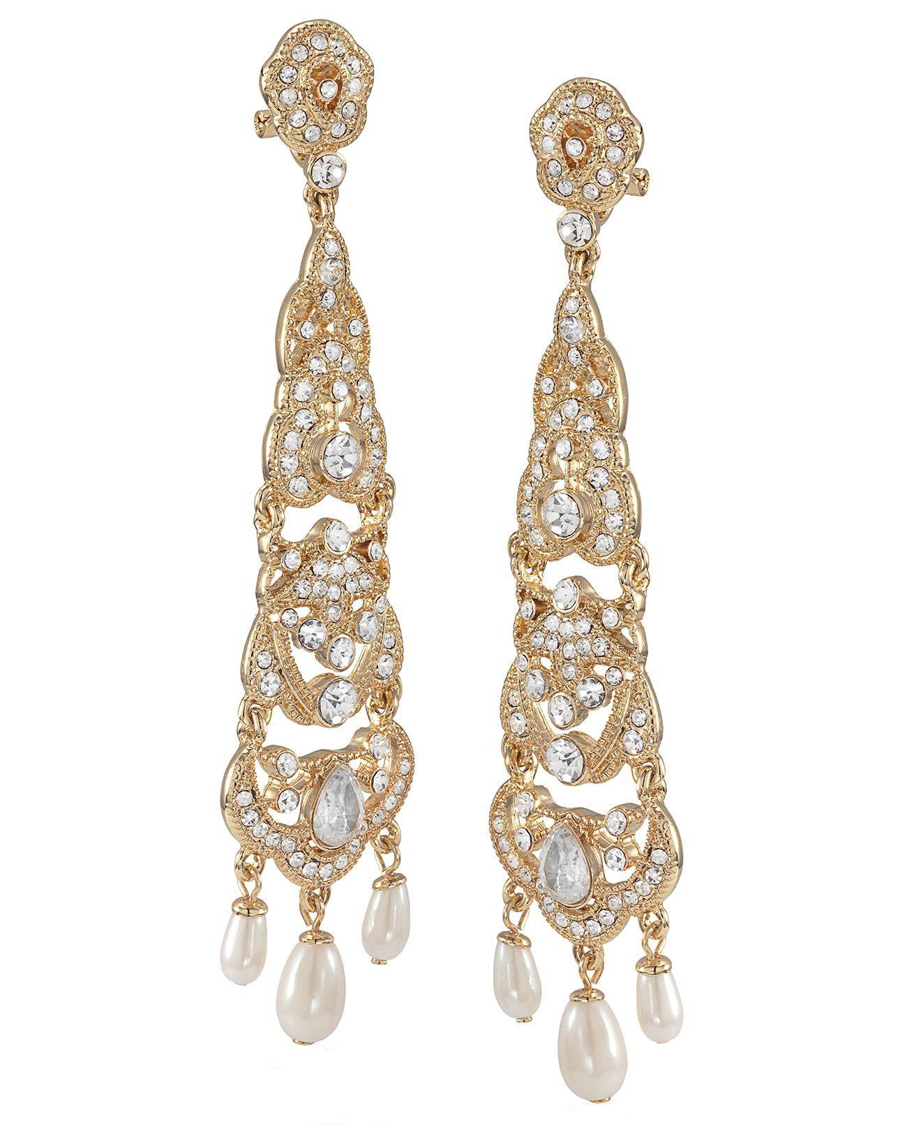 50 Carolee Earrings, Gold Tone Linear Chandelier Earrings
