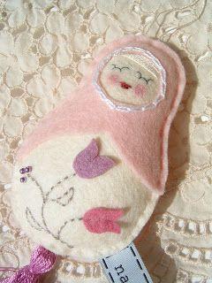 my doll with tulips - felt/wool