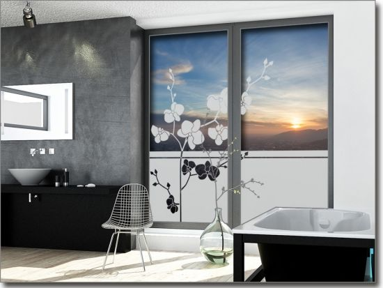 sichtschutzfolie orchidee fensterdeko pinterest fenster sichtschutzfolie und fensterfolie. Black Bedroom Furniture Sets. Home Design Ideas