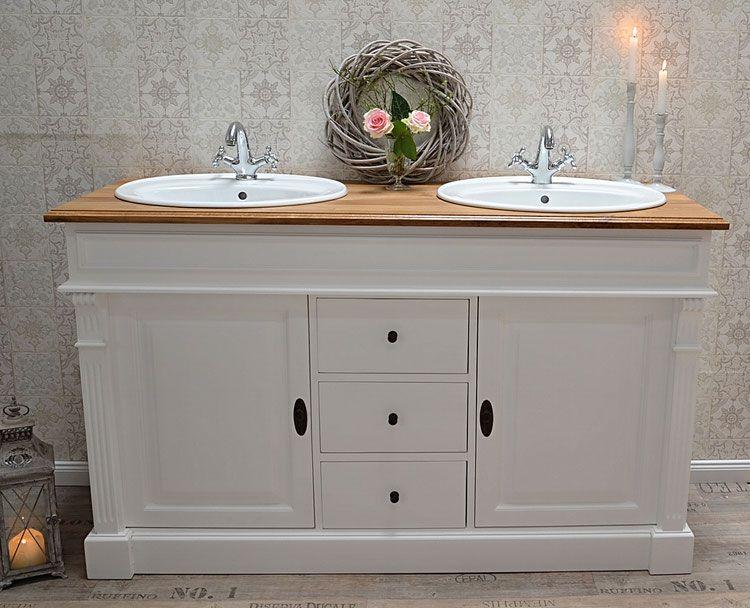 allure landhaus doppelwaschtisch mit eichenplatte von badm bel landhaus land und liebe. Black Bedroom Furniture Sets. Home Design Ideas
