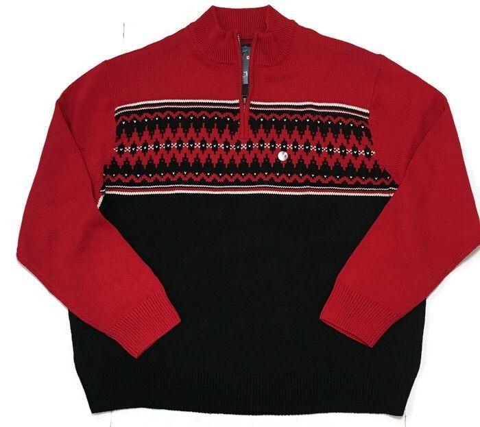 Chaps Fair Isle Sweater 4X Mock Neck Nordic Big Tall Red Black ...