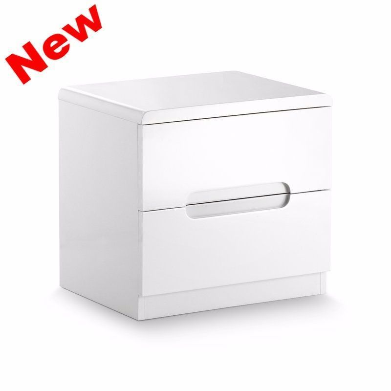2 Drawer Bedside Table End Organizer Nightstand Storage Lamp Bedroom White Gloss