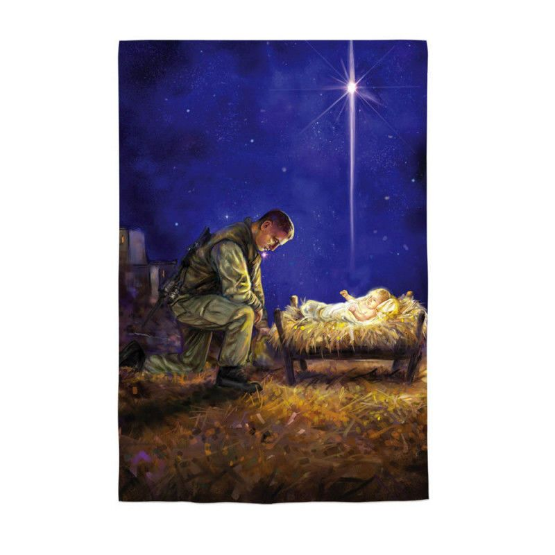 """12.5x18"""" SOLDIER KNEELING AT MANGER Christmas Card Small"""