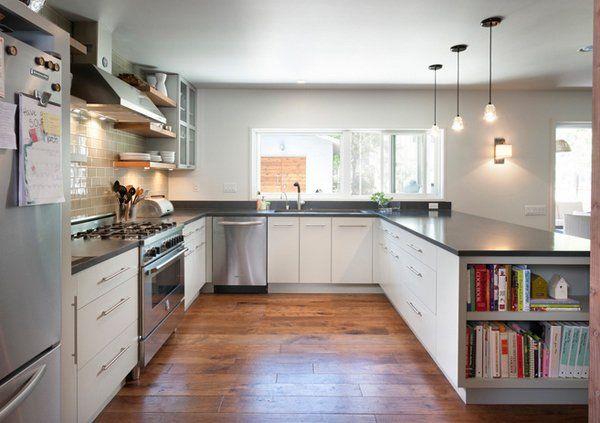 15 Contemporary U-shaped Kitchen Designs Open shelving, Kitchen