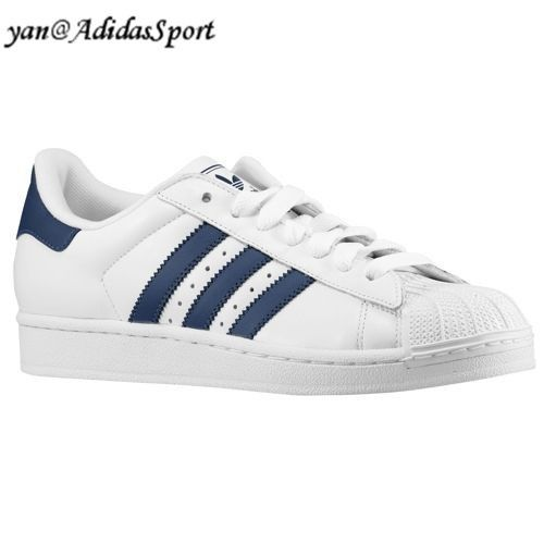 low priced 8c68f ac925 Adidas Originals Superstar 2 Zapatillas de Cuero para Hombre Blanco Azul  Marino Barcelona Online