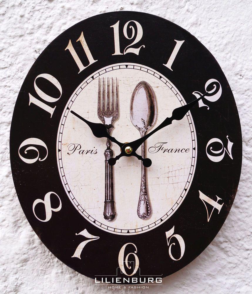 Uhr Wanduhr Küche Wand weiß schwarz Landhaus Küchenuhr Besteckuhr ...