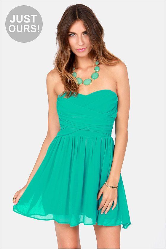 03bc2418611 sash flow strapless teal dress -  lulus simple   cute