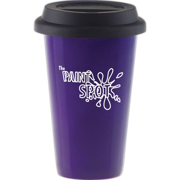 Keep your hot liquids hot and cold liquids cold! This 11 oz. ceramic cup is composed of an insulated, double-walled porcelain. Features a silicone lid that helps prolong beverage temperature and prevent spills. Designed to be reusable and eco-friendly. Consider these convenient cups for promotional use at your next trade show or convention. Available in a wide variety of colors! This product may be customized with company name, logo, or message.