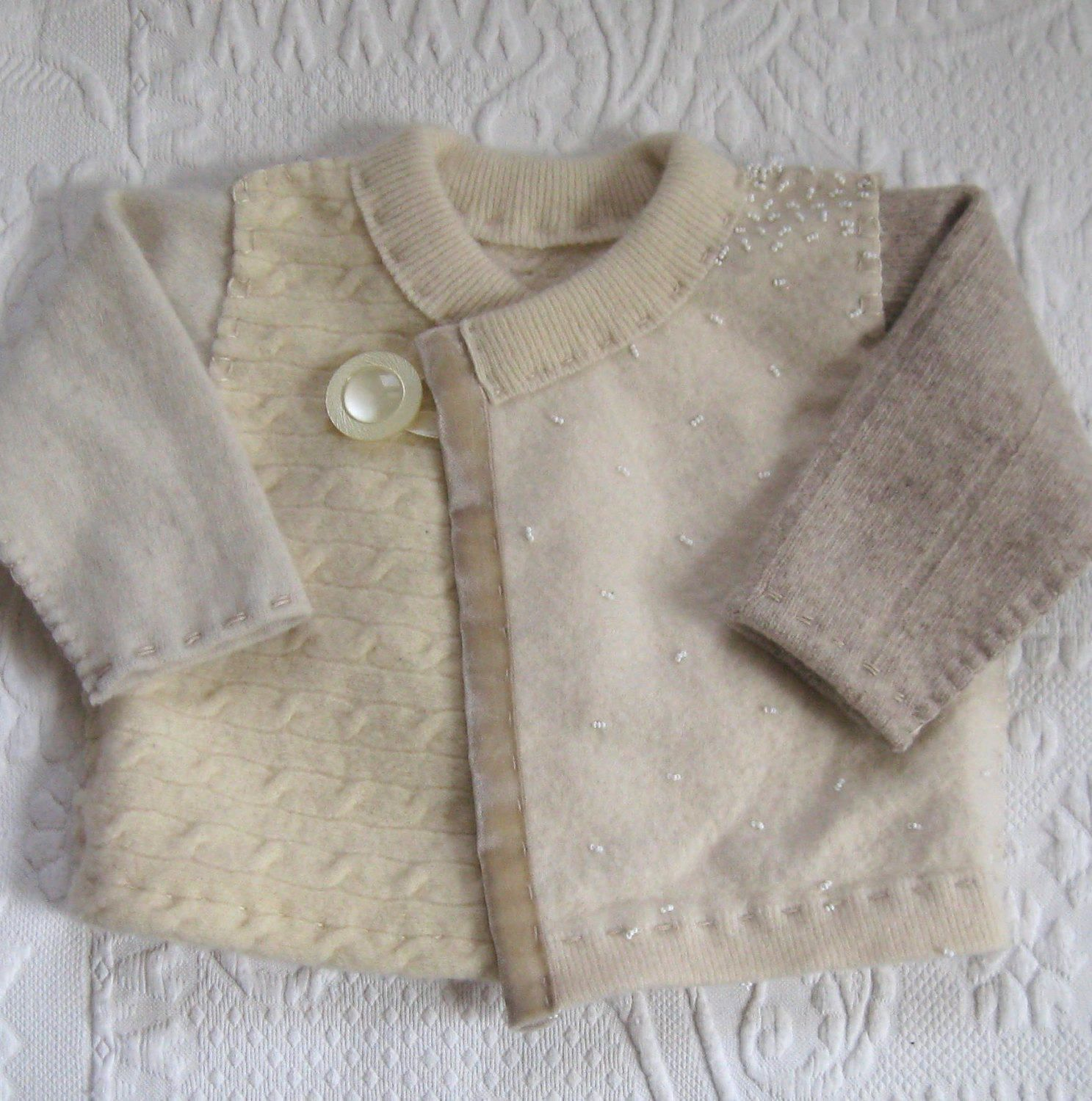baby girl . baby girl wool cardigan . made from Recycled sweaters ...