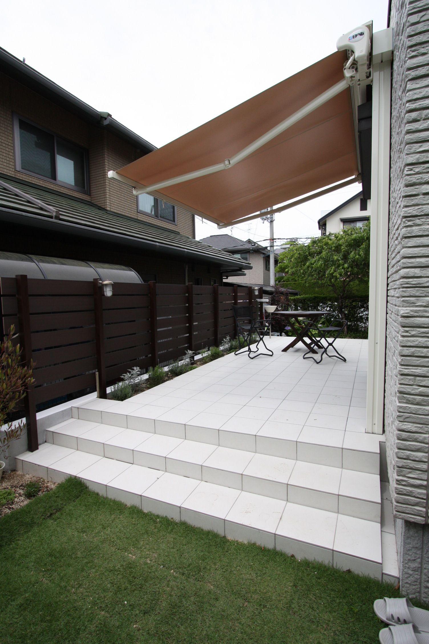 タイルテラスとオーニングの組み合わせ 生駒市 奈良県 解体土木 四季園 タイルテラス テラスのデザイン パーゴラ 日よけ