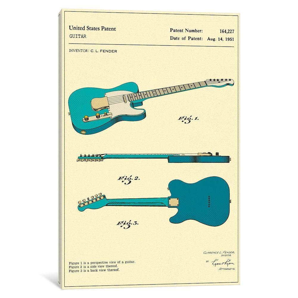 iCanvas \'C.L. Fender Guitar Patent\' by Jazzberry Canvas Print ...
