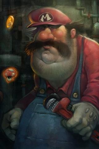 Fat Super Mario Bros Painting Android Wallpaper Hd