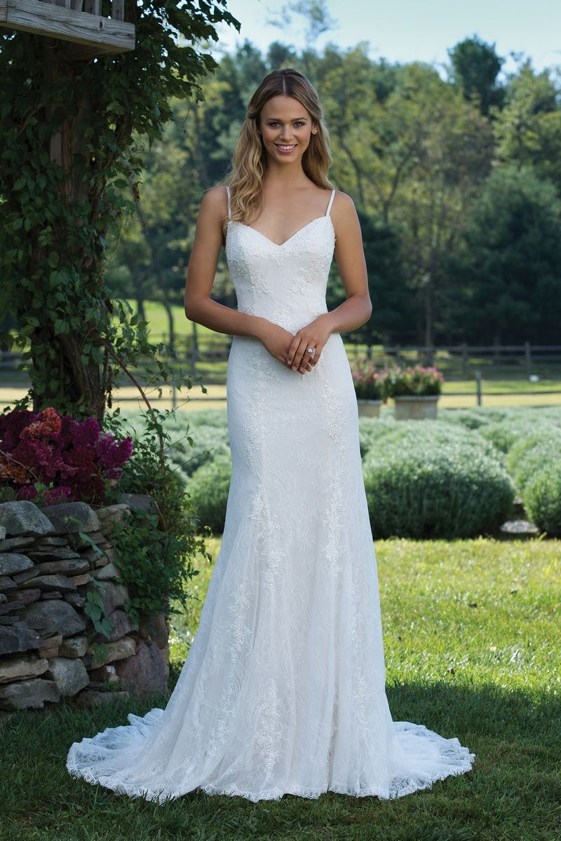 Lace dress styles for wedding  Sincerity Bridal Lace Fit and Flare Gown with Spaghetti Straps and