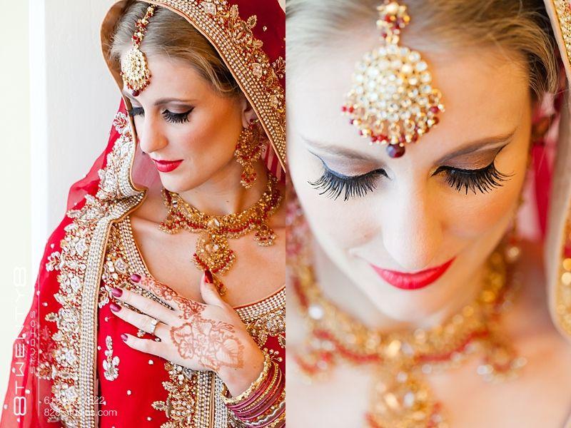 Sari Hindu Wedding Red Gold Beads Henna Tattoo Bride