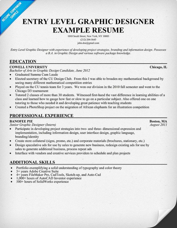 Entry Level Graphic Designer Resume Student Resumecompanion Com