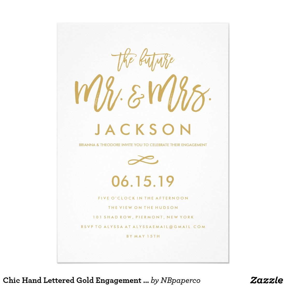 Chic Hand Lettered Gold Engagement Party | Modern Wedding ...