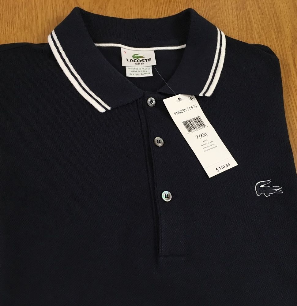 Lacoste Mens Short Sleeve Polo Shirt Slim Fit 7 Xxl New