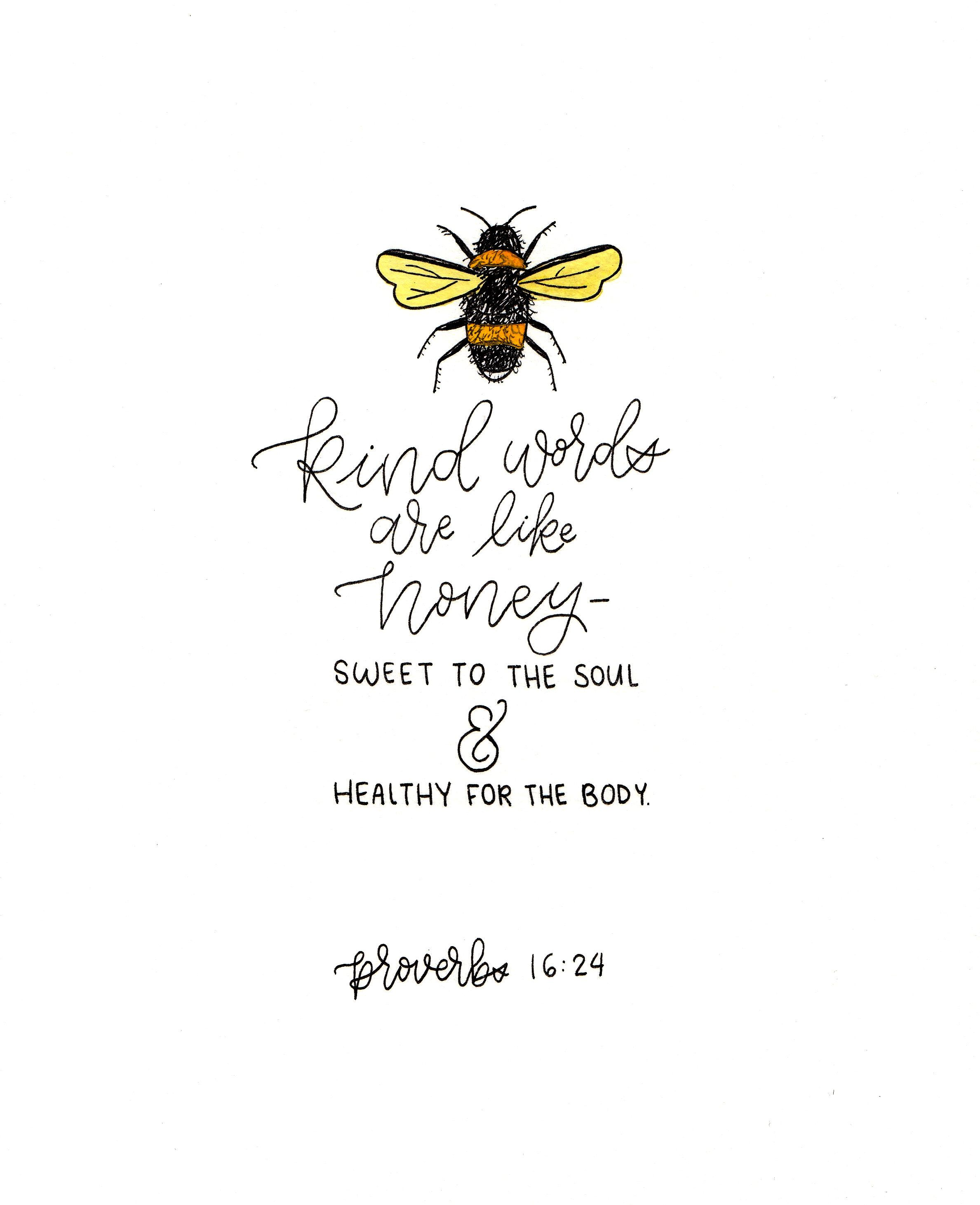 Proverbs 16:24 honey bee verse calligraphy home decor #bible