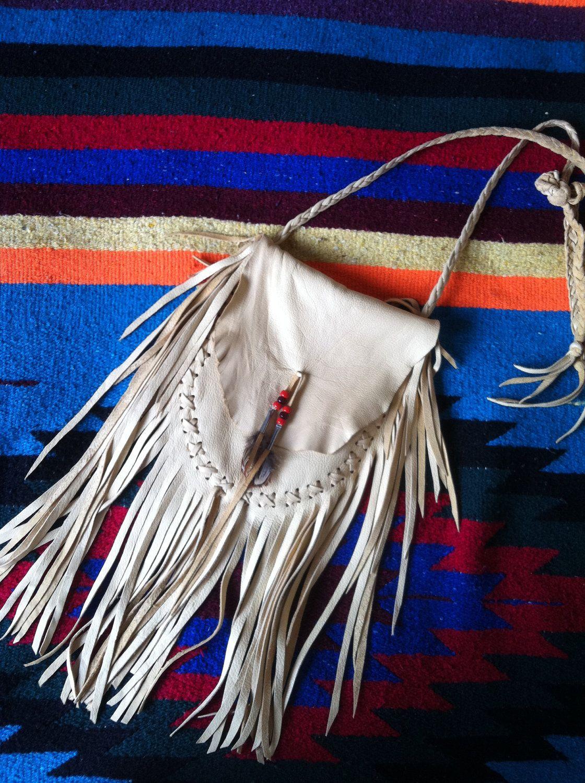 Leather Deerskin Fringe Native American Medicine Bag Von