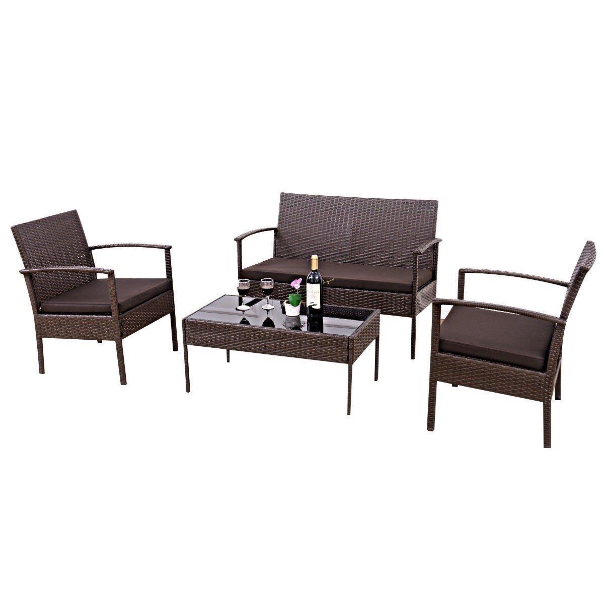 Brown 4 Piece Outdoor Rattan Patio Furniture Set In 2020