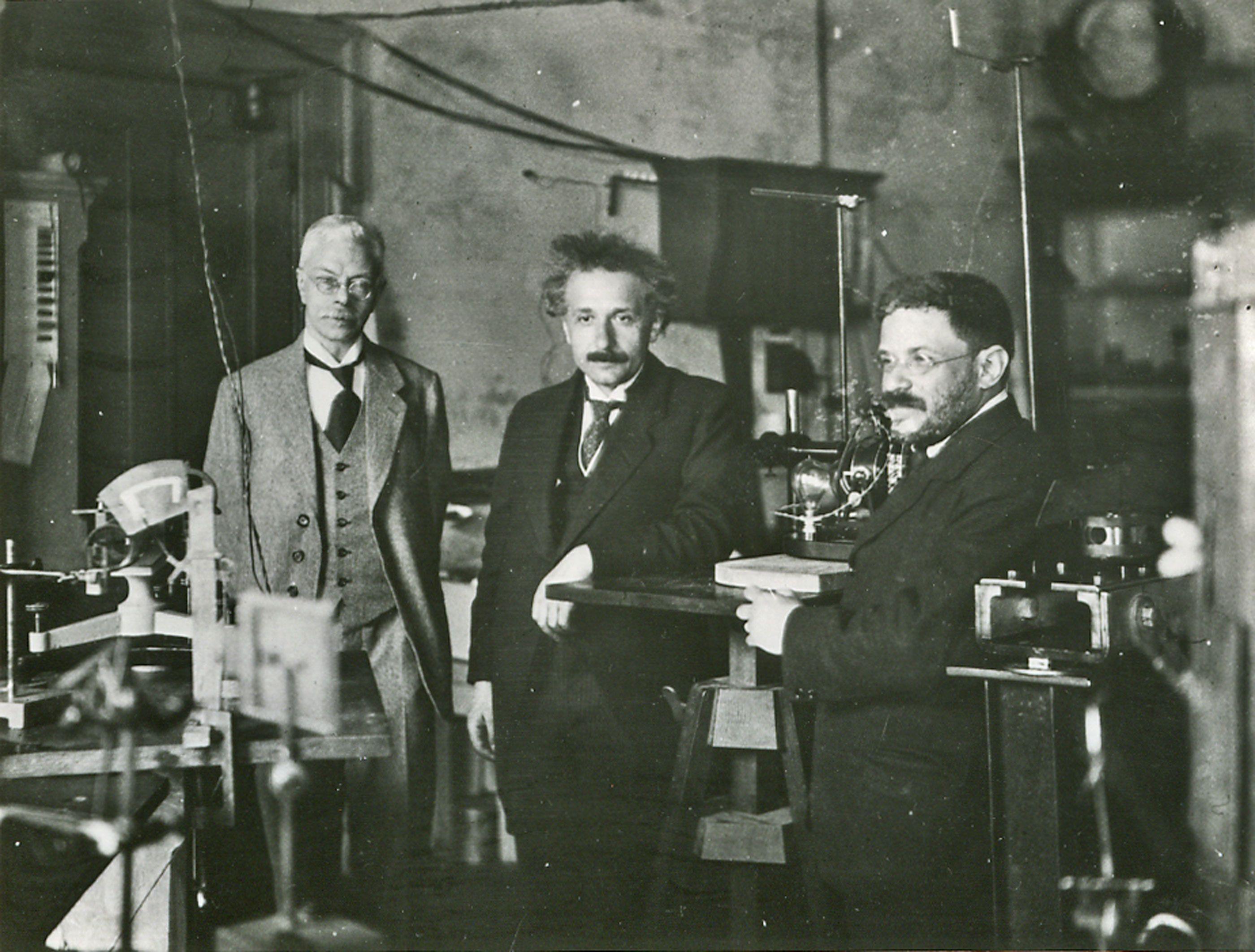 Albert Einstein visiting the lab of Pieter Zeeman in Amsterdam circa 1920.  http:/
