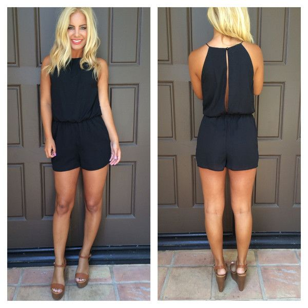 Pretty In Pleats Open Back Sleeveless Romper - BLACK