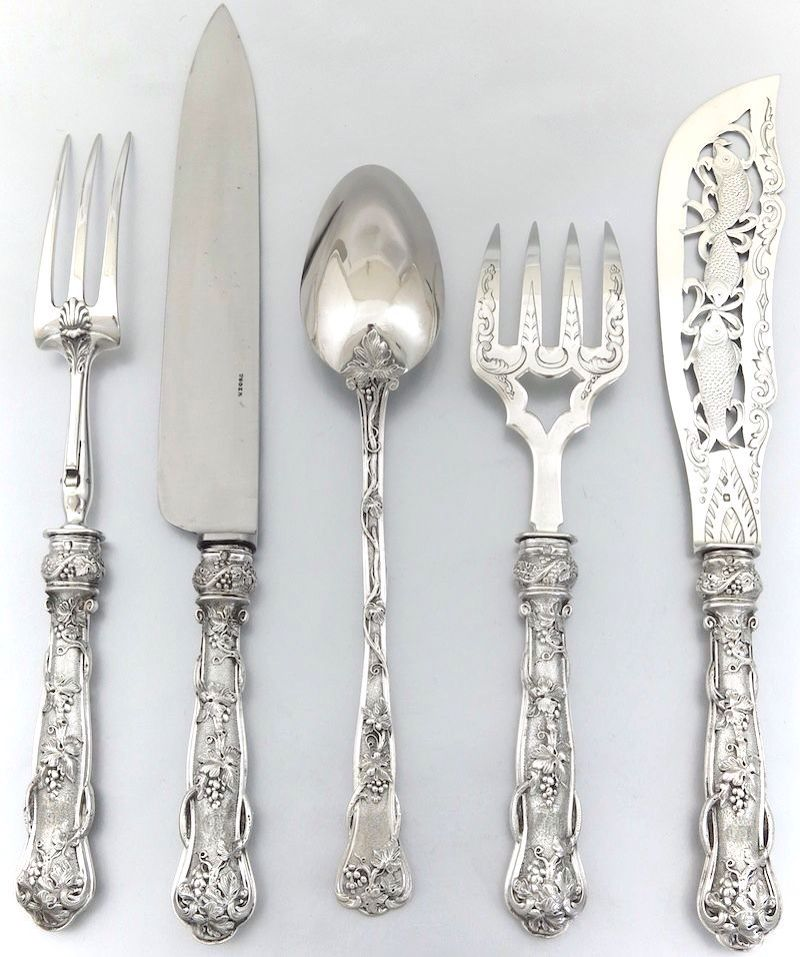 the french do grapes as well in silver as they do in wine french sterling silver serving flatware set of wbox by pf from on ruby lane