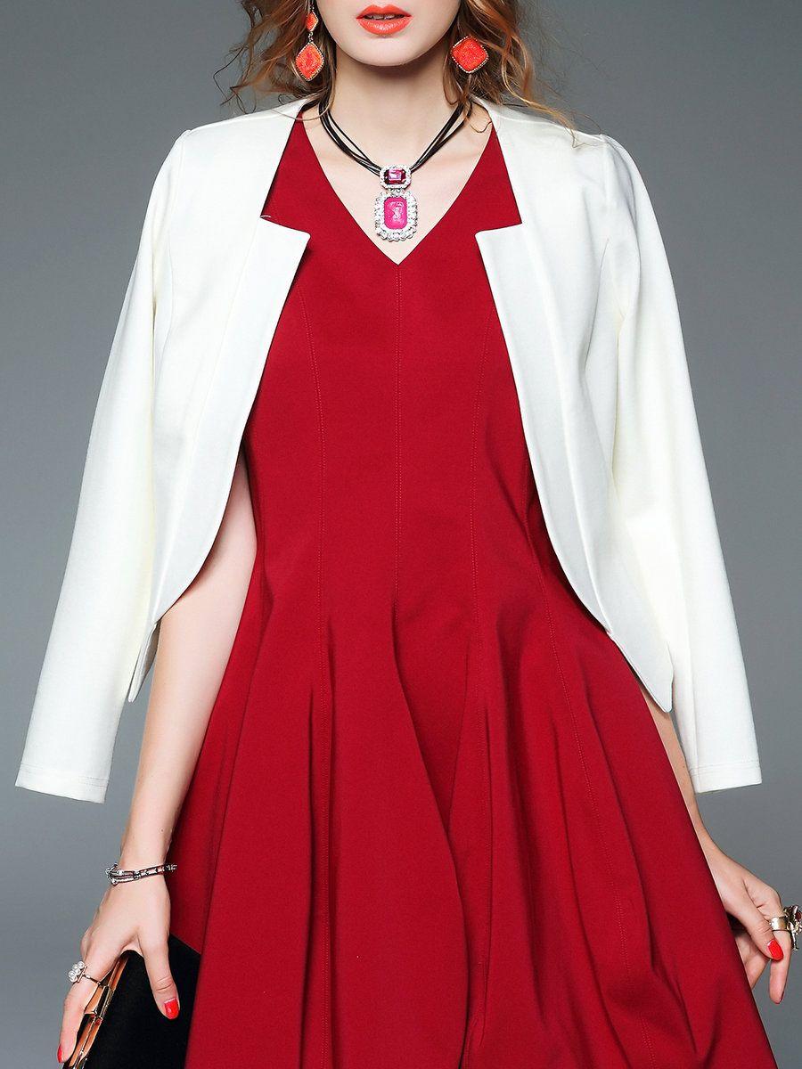 Cottonblend hline simple long sleeve plain blazer adorewe