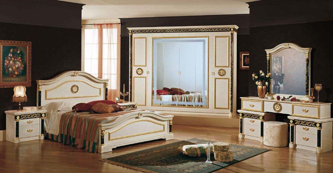Ensemble De Meubles Comprenant Lit 160x200 Avec 3 Tiroirs Armoire 4 Portes Commode 2chevet Chambres Luxueuses Chambre A Coucher Chambre A Coucher Royale