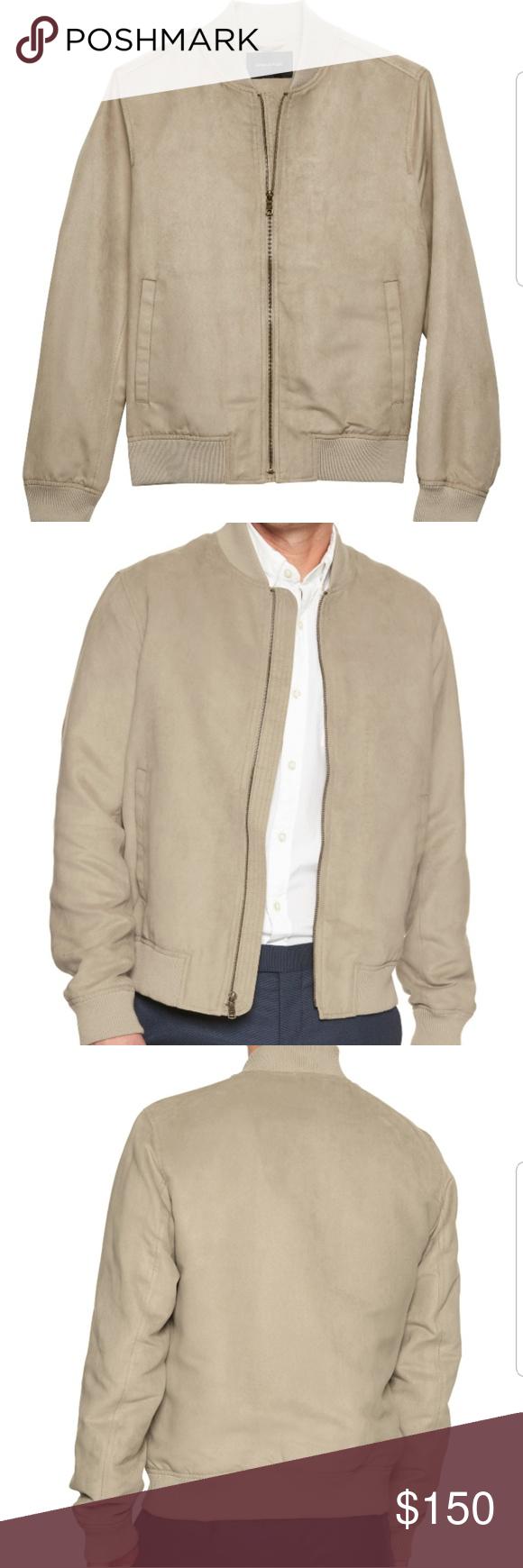 113c19b62 Vegan Suede Bomber Jacket Size Large Color Khaki Bomber style jacket ...