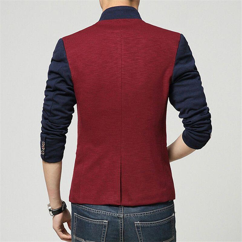 Blazer Men Chinese Collar Suit Mens Summer Blazer Hommes Casual Jacket Men…