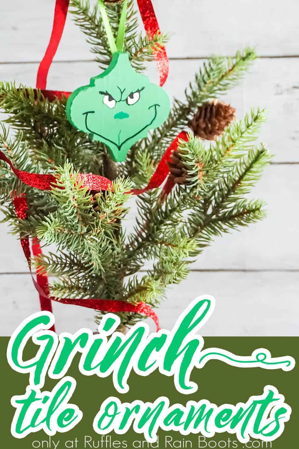 Make This Quick And Easy Tile Grinch Ornament Fast As A Flash Grinch Ornaments Ornaments Grinch Crafts