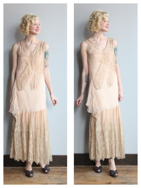 Stunning And Gorgeous One Of A Kind 1920s Wedding Dress Made With Silk Chiffon