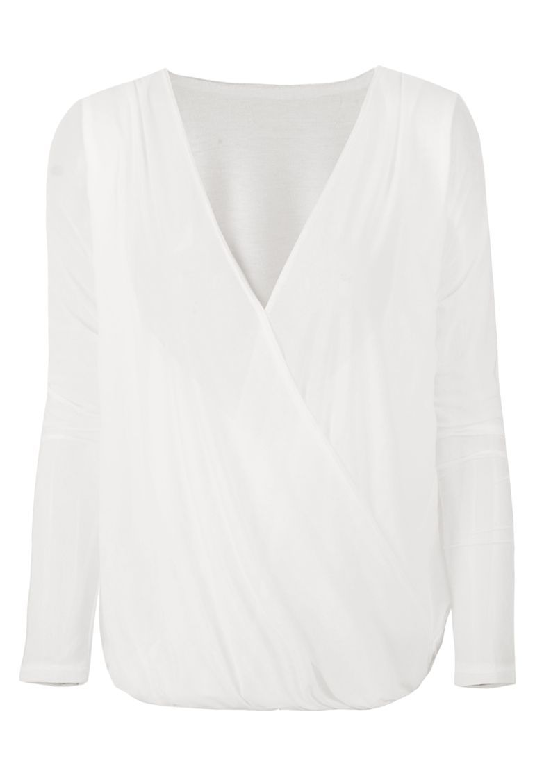 Mesh Shell V Neck Shirt - White - Stretch Waistband Top