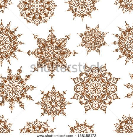 Vector seamless background with abstract floral elements in indian style. Ornamental pattern - stock vector