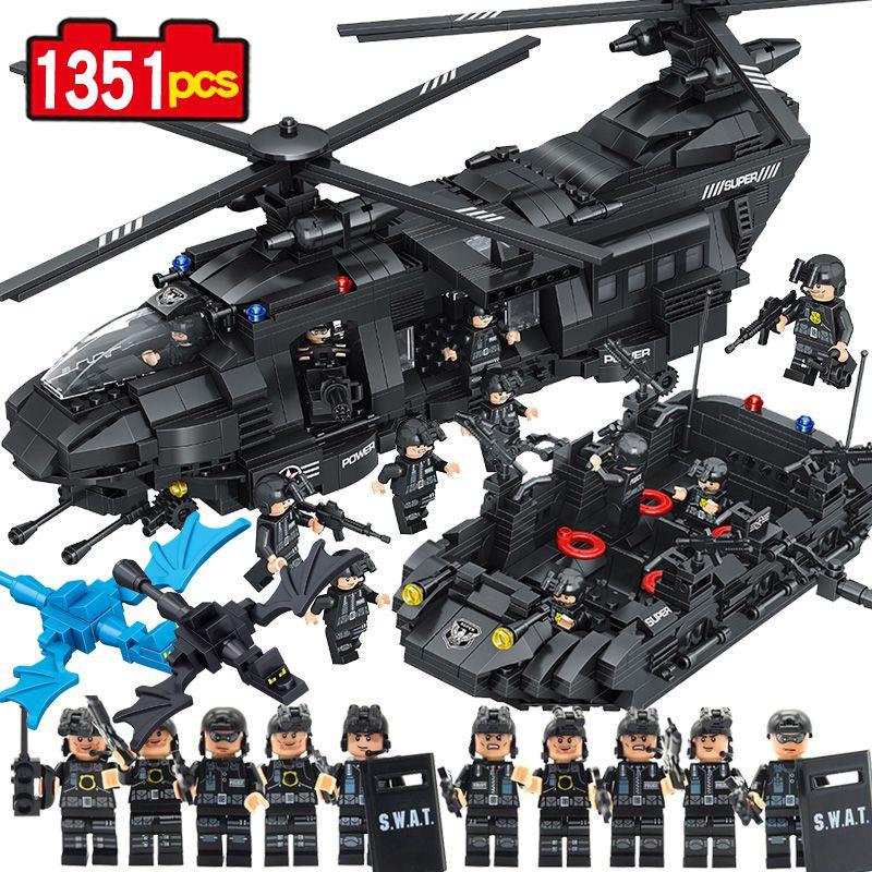 NEW 1351Pcs City Police SWAT Team Transport Helicopter Building Blocks Bricks