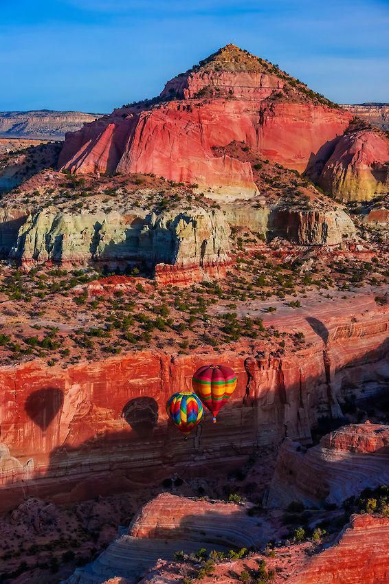 Aerial view of hot air balloons flying during the Red Rock