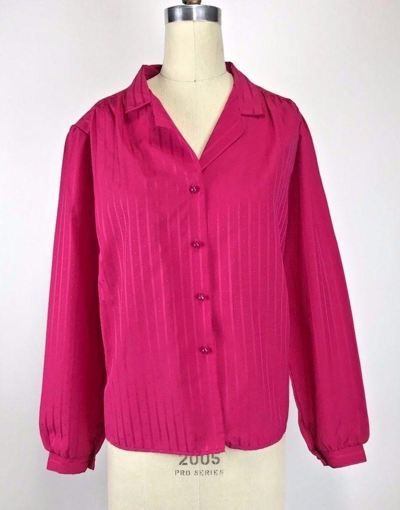 217b2a11e1b2e7 Vintage 70s Hot Pink Retro Silky Blouse Secretary Shirt Top L #Rhapsody # Blouse
